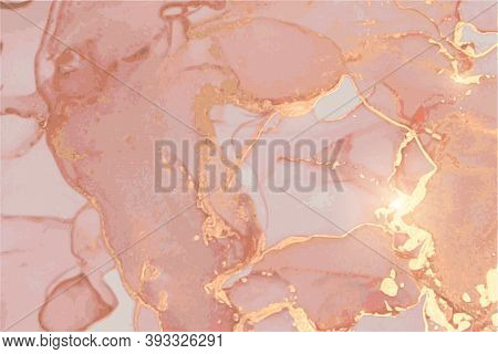 Dusty Rose And Gold Stone Background With Texture Of Marble