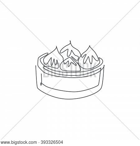 One Single Line Drawing Of Fresh Chinese Dumpling Logo Graphic Vector Illustration. Asian Food Cafe
