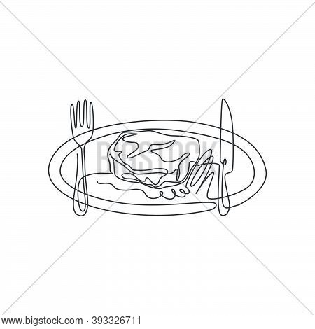 Single Continuous Line Drawing Of Stylized Rosemary Steak On Plate With Knife And Fork. Steak Restau