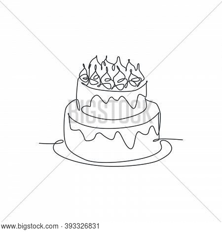 One Single Line Drawing Of Fresh Delicious Home Made Birthday Cake With Candles Above Vector Graphic