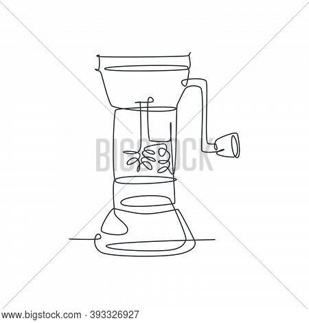 Single Continuous Line Drawing Of Stylized Manual Handy Wooden Coffee  Beans Grinder Logo Label. Emb