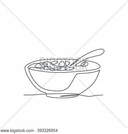 Single Continuous Line Drawing Of Stylized Bowl Of Cereal Breakfast With Fresh Milk. Healthy Whole W
