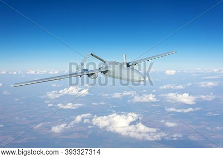 Unmanned Military Drone Uav Flying Reconnaissance In The Air High In The Sky In The Border Areas
