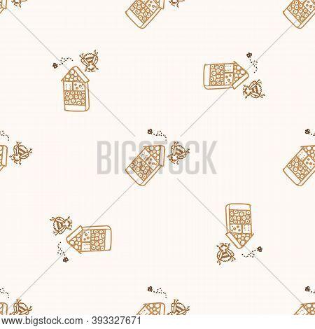 Seamless Background Honeybee Bug Hotel Gender Neutral Pattern. Whimsical Minimal Earthy 2 Tone Color