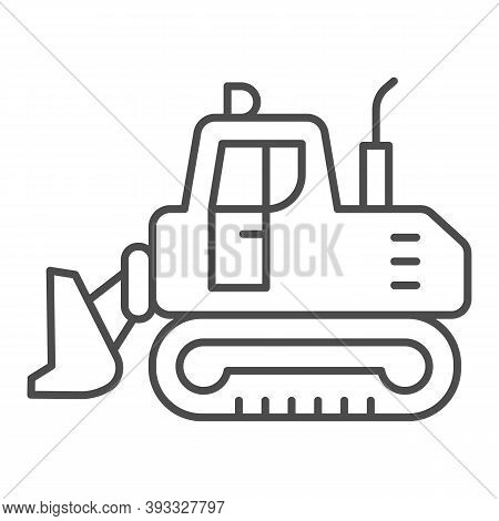 Excavator With Scoop Thin Line Icon, Heavy Equipment Concept, Earth Heavy Digger Sign On White Backg