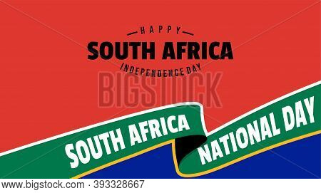 South Africa Independence Day Design With Red And Blue Background Design. Good Template For South Af