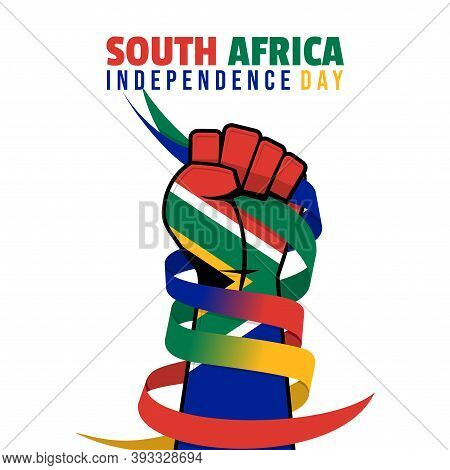 South Africa Independence Day Design With Colored Hand Of South Africa Flag And Gripping The Ribbon.