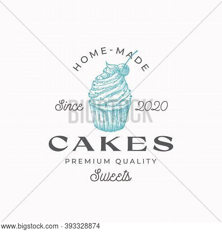 Home-made Cakes Premium Quality Confectionary Abstract Sign, Symbol Or Logo Template. Hand Drawn Swe