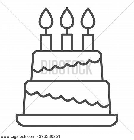 Birthday Storey Cake Thin Line Icon, Birthday Cupcake Concept, Two Tiered Cake Sign On White Backgro