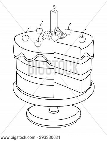 Cake On A Cake Stand. Cake Cut Without One Piece - Linear Stock Illustration For Coloring. Outline.