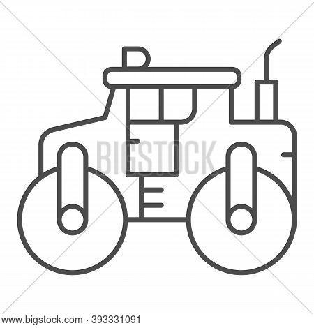 Asphalt Roller Thin Line Icon, Heavy Equipment Concept, Steamroller Truck Sign On White Background,
