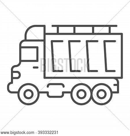 Truck Thin Line Icon, Heavy Equipment Concept, Dump Vehicle Sign On White Background, Heavy Duty Dum