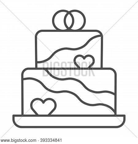 Wedding Cream Cake Thin Line Icon, Birthday Cupcake Concept, Wedding Anniversary Two Layer Cake Sign