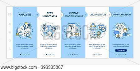 Creative Thinking Types Onboarding Vector Template. Making Analysis Of Everything. Open Mindedness.