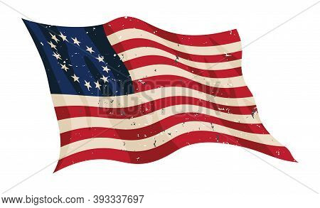 Waving Aged Betsy Ross Flag Isolated Vector Illustration