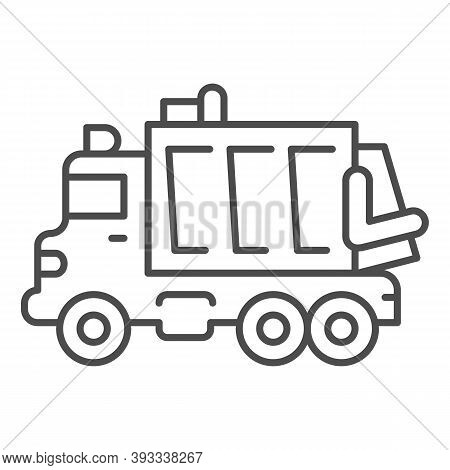 Garbage Truck Thin Line Icon, Heavy Equipment Concept, Garbage Machinery Sign On White Background, R