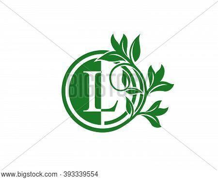 Luxury Circle L Letter Floral Logo. Nature L Swirl Logo Icon.