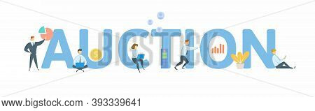 Auction. Concept With Keyword, People And Icons. Flat Vector Illustration. Isolated On White.