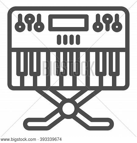 Synthesizer Line Icon, Sound Design Concept, Synth Sign On White Background, Music Synthesizer Icon