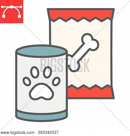 Pet Food Color Line Icon, Tin Can And Meal, Dog Food Sign Vector Graphics, Editable Stroke Filled Ou