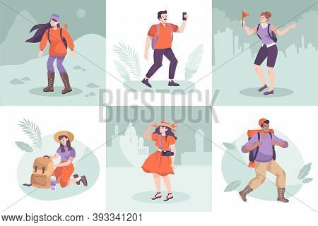 Excursion Design Concept With Set Of Flat Compositions With Sightseeing Silhouette Cityscapes And Ch