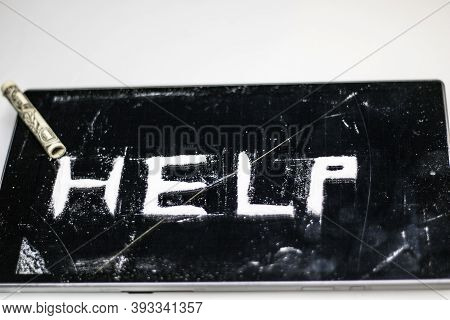 Photo Of A Plea For Help, On A Dark Surface, Written By A Drug Addict, Using Powdered Cocaine, And A