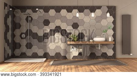 Modern Bathroom With Shower,washbasin On Wooden Shelf And Hexagonal Tiles Wall -3d Rendering