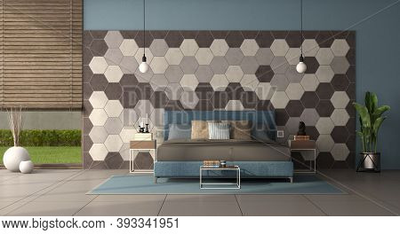 Modern Bedroom With Double Bed In Front Of A Wall With Hexagonal Tiles - 3d Rendering
