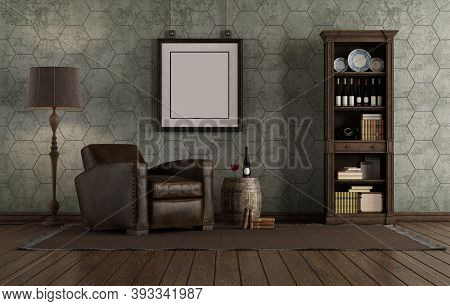Retro Style Living Room With Leather Armchair And Bookcase Against Old Wall - 3d Rendering