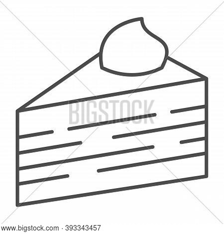 Slice Of Puff Cake Thin Line Icon, Birthday Cupcake Concept, Cake Slice Sign On White Background, Pu