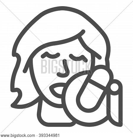 Singing Vocalist With Studio Microphone Line Icon, Sound Design Concept, Woman With Microphone Sign