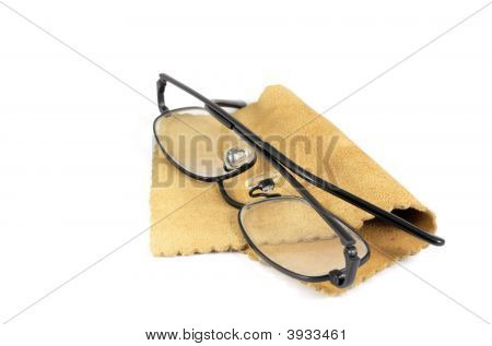 Spectacles On Chamois Leather Cleaning Cloth