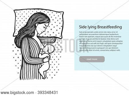 Hand Drawn Line Illustration Of Baby With Mom Lying On A Bed. Side Lying Breastfeeding. Stock Vector