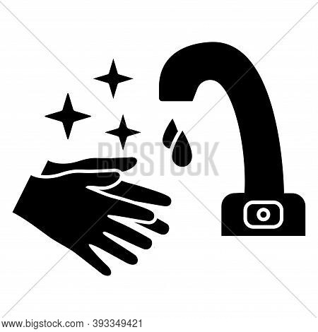 Hands Washing Under The Faucet With Sensor, Thin Line Icon. Touch Less Water Crane With Hands. Motio