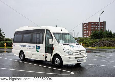Reykjavik, Iceland - July 10, 2014: Mercedes-benz Sprinter Touristic Shuttle Bus Of The  Reykjavik E