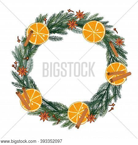 Evergreen Branches, Red Berries, Orange Slices Frame With Place For Date, Inscription, Text. Waterco