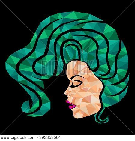 Mosaic Face Of A Charming And Beautiful Woman With Closed Eyes And Hair In Green Hues Isolated On Th