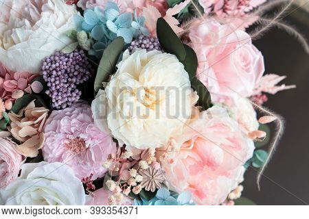 Beautiful Flower Arrangement In A White Box. Flower Shop Concept. Floristics Preserved Flowers. Whit