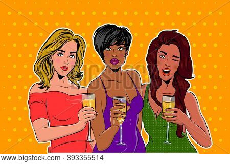 Three Elegantly Dressed Girls Pop Art At A Party With A Glass Of Champagne. Beautiful African-americ