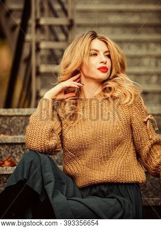 Warm Autumn. Fall Fashion Trend. Wearable Trends. Layer Oversize Knit Over Girly Skirt. Woman Gorgeo