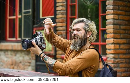 Professional Look. Capture These Memories. Slr Camera. Hipster Man With Beard Use Professional Camer