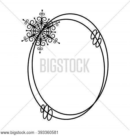 Christmas Frame With Snowflake. Oval Black Border For Creating Greetings, Cards, Cutting Out, Crafts