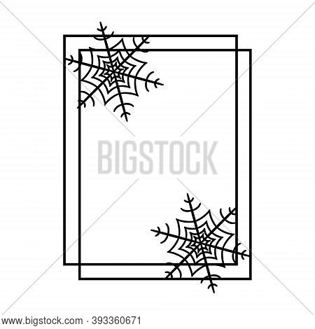 Black Outline Square Frame With Snowflakes. Decorative Border For Holiday Christmas, Halloween. Desi