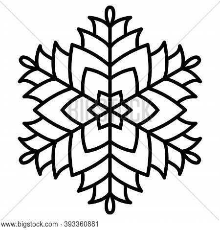 Abstract Geometric Snowflake. Black Outline On A White Background. Christmas Ornament, Simple Mandal