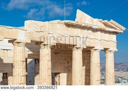Part Of Entablature With Doric Columns In Horizontal Format