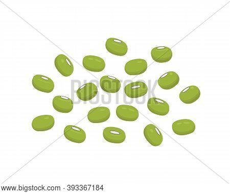 Pile Of Mung Beans, Green Gram Or Maash Isolated On White Background. Vector Flat Illustration.