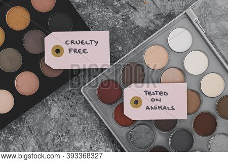 Cruelty Free Vs Animal Tested Cosmetics Eyeshadow Palettes With Text On Labels