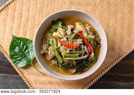 Northern Thai Food (kaeng Khae), Spicy Curry Soup With Pork And Mixed Local Vegetables And Herbs, Ma