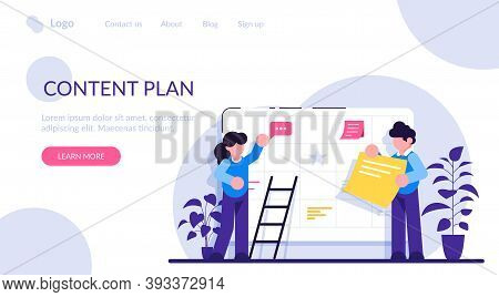 Content Plan Concept. Planning Concept. Entrepreneurship And Calendar Schedule Planning With Filling
