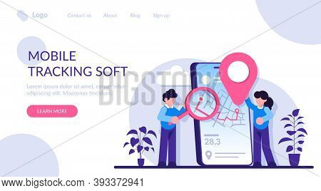 Mobile Tracking Software Concept. Smartphone Application. Gps Tracking. Online Order Tracking, Shipm